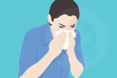 Alergi lingkungan memiliki gejala yang mirip seperti gejala flu yaitu bersin, pilek, sesap napas dan gatal-gatal.