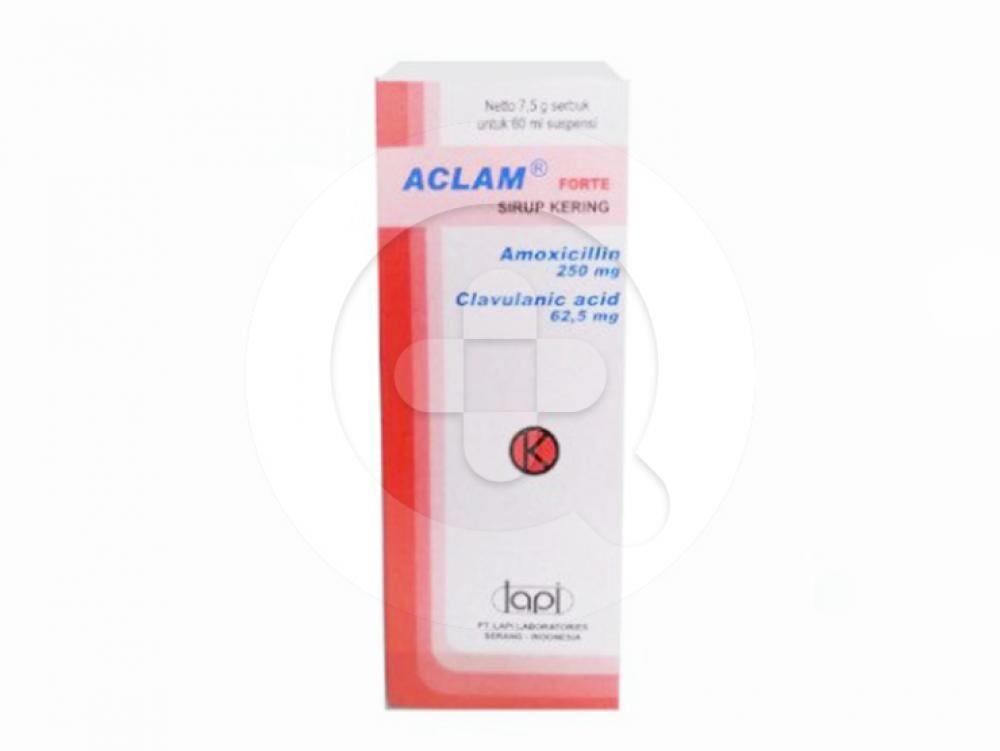 Aclam Forte sirup kering digunakan untuk mengatasi infeksi saluran napas atas dan bawah, infeksi saluran kemih, infeksi kulit dan jaringan lunak serta infeksi lainnya.