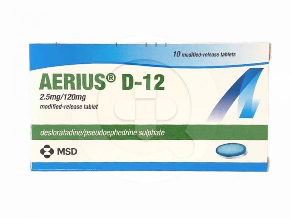 Aerius D-12 tablet adalah obat untuk mengatasi alergi seperti rinitis alergi dan hidung tersumbat.