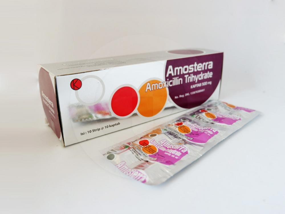 Amosterra kaptab 500 mg antibiotik golongan penisilin yang digunakan untuk mengobati berbagai macam infeksi bakteri pada saluran pernapasan, kulit, dan saluran kemih.