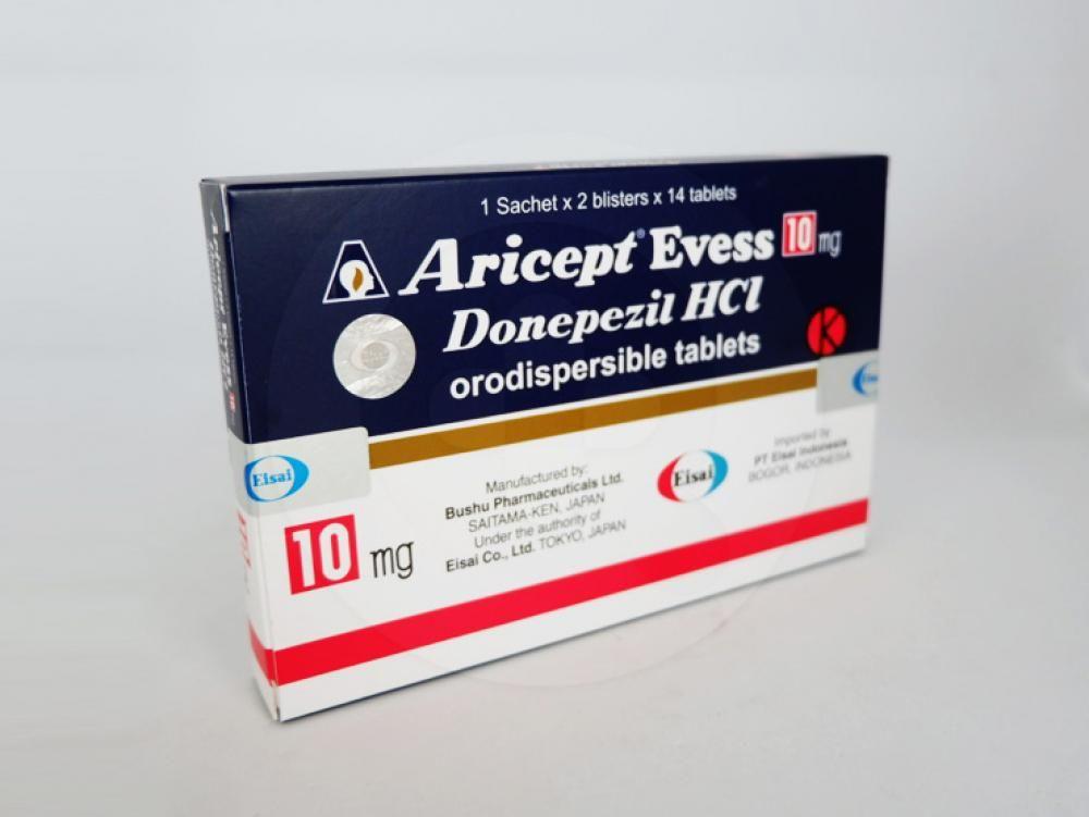 Aricept evess tablet 10 mg untuk mengobati penyakit Alzheimer.