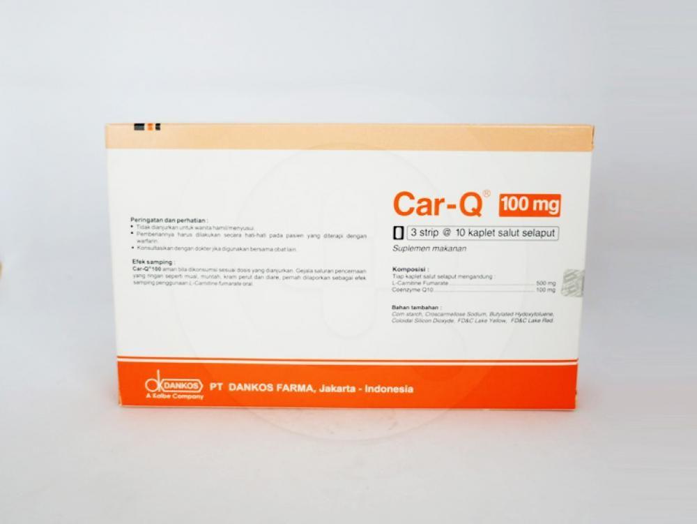 Car-Q kaplet 100 mg sebagai suplementasi asam amino L-Carnitine fumarate dan coenzyme Q10.