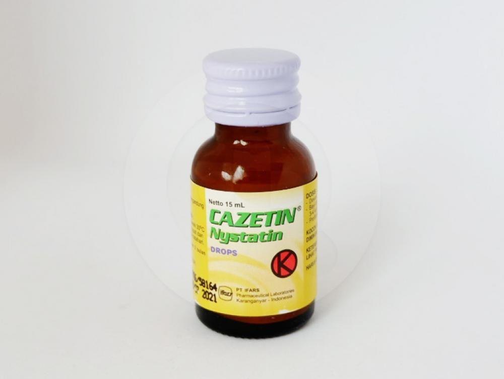 Cazetin tetes 15 ml obat untuk pengobatan infeksi jamur (kandidiasis) pada rongga mulut dan saluran pencernaan.