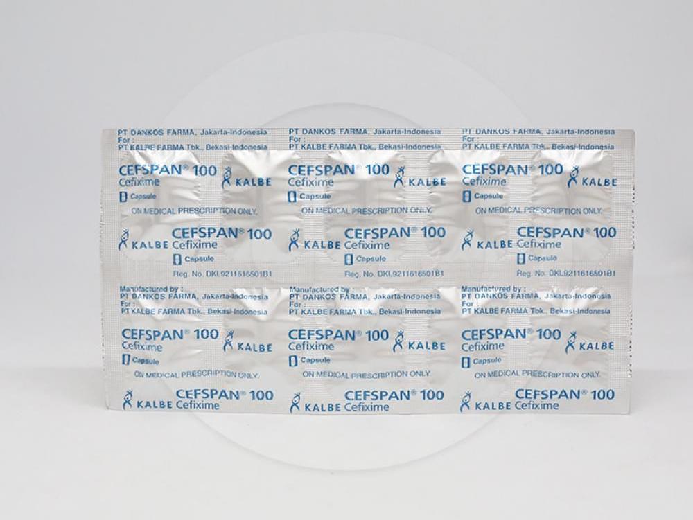 Cefspan digunakan untuk pengobatan infeksi saluran kemih tanpa komplikasi, otitis media, faringitis, tonsilitis
