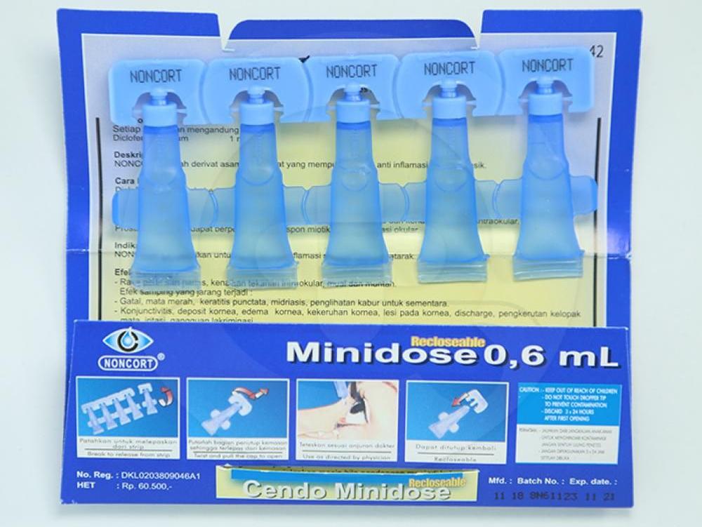 Cendo Noncort Minidose tetes mata yang digunakan untuk mengurangi peradangan (inflamasi) pada pasien setelah menjalani operasi katarak