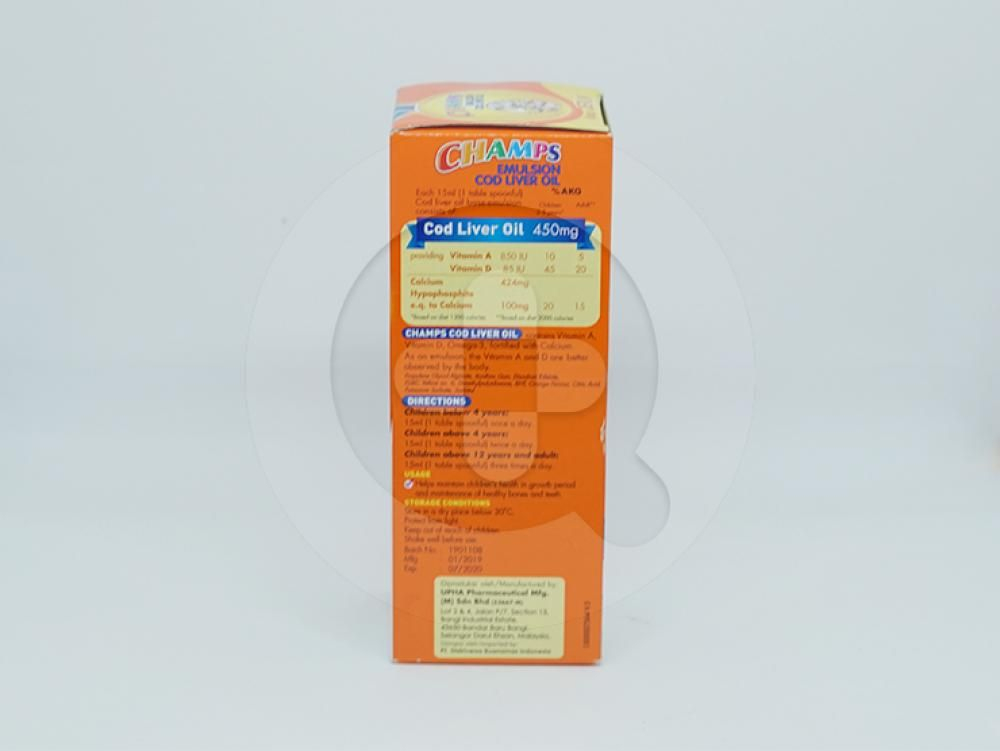 Champs Emulsion Cod Liver Oil Rasa Jeruk 200 ml untuk membantu memelihara kesehatan anak-anak di masa pertumbuhan dan membantu memelihara kesehatan tulang dan gigi.