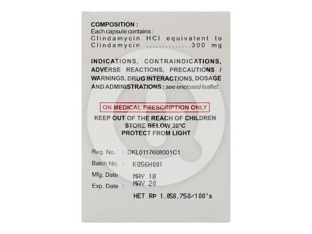 Clinium kapsul 300 mg untuk infeksi-infeksi pada saluran pernafasan bagian atas, kulit, jaringan dan tulang, infeksi oleh bakteri anaerob