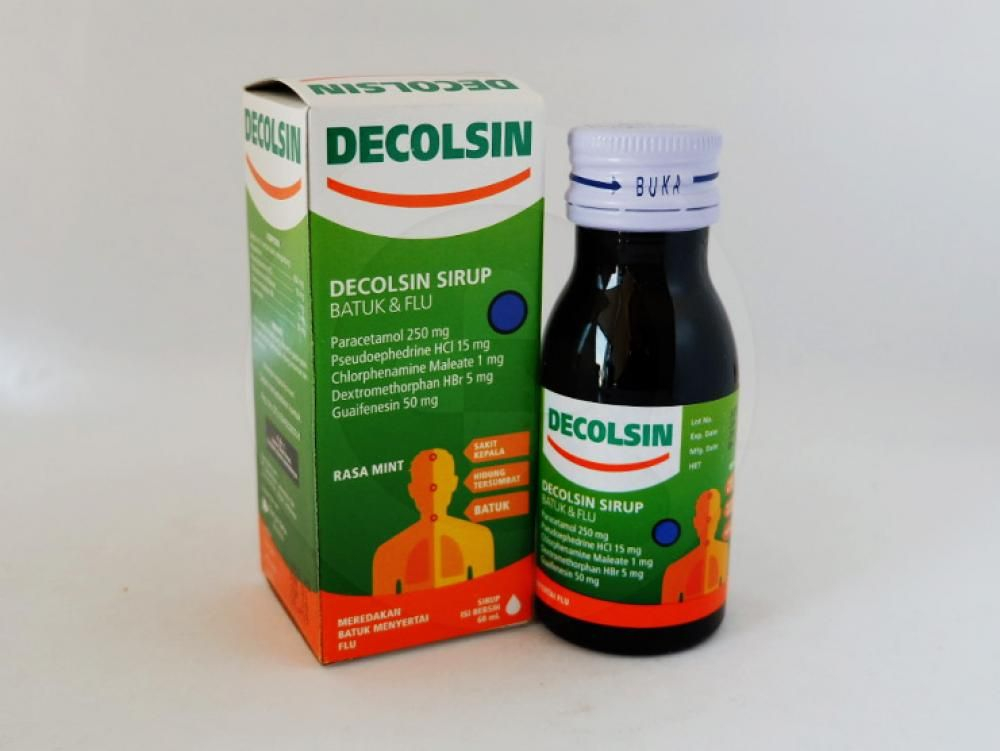 Decolsin sirup 60 ml untuk meredakan gejala flu, seperti demam, sakit kepala, hidung tersumbat, dan bersin-bersin.