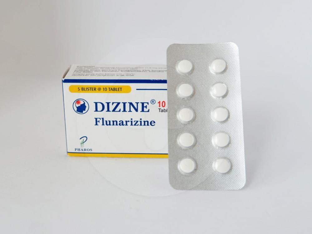 Dizine tablet 10 mg untuk pengobatan pencegahan migrain, gangguan sistem saraf tepi, penyakit serebrovaskular, gangguan vestibular.