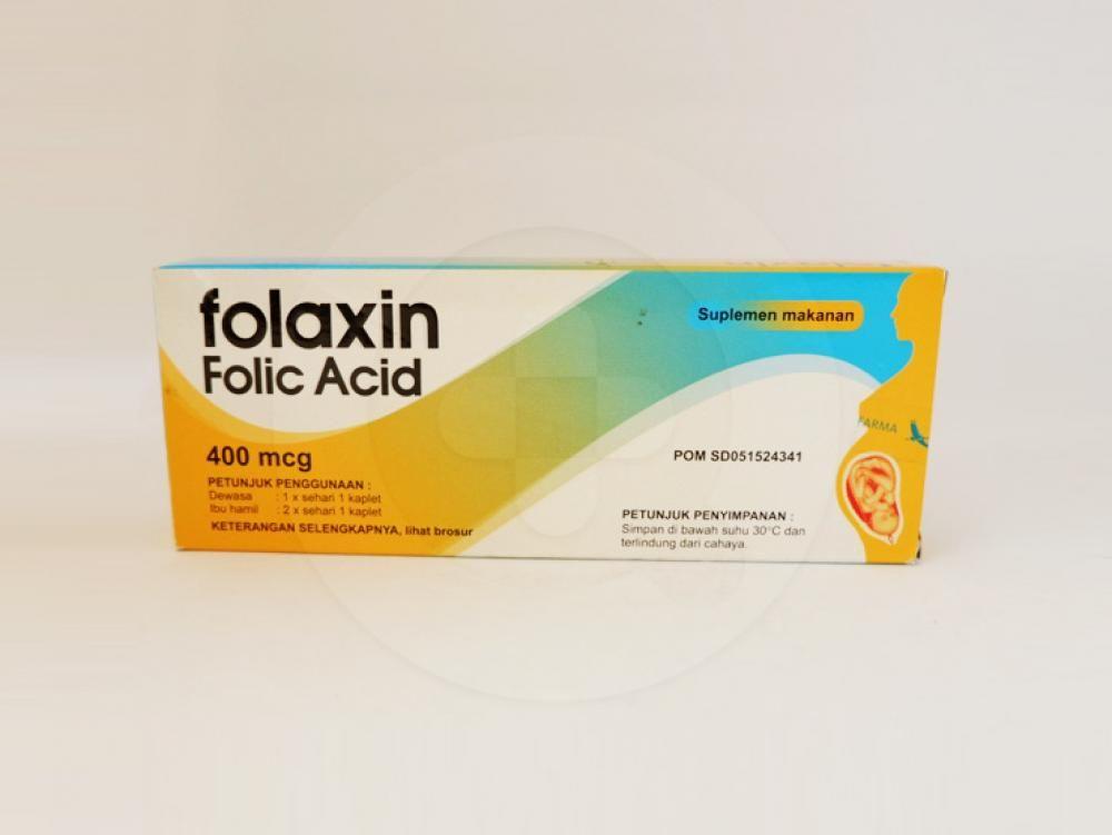Folaxin kaplet 400 mcg adalah obat yang digunakan untuk suplementasi asam folat.