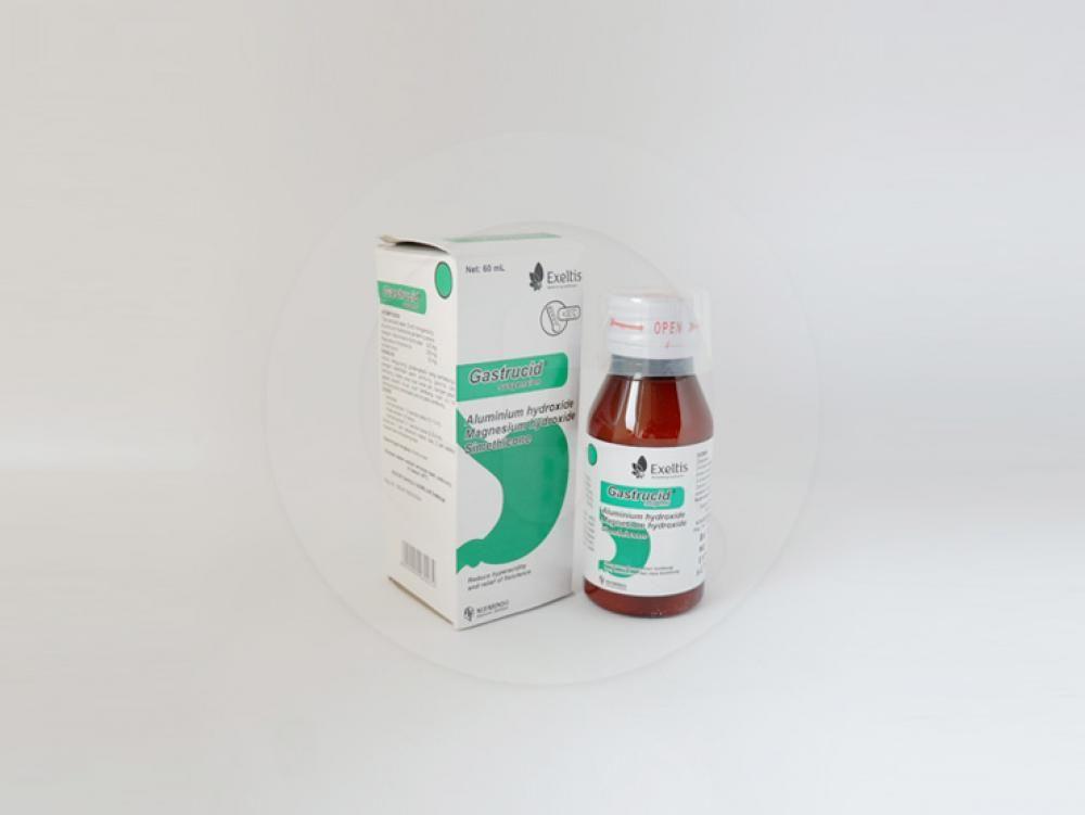 Gastrucid suspensi 60 ml untuk mengurangi gejala-gejala yang berhubungan dengan kelebihan asam lambung, peradangan dinding lambung (gastritis), tukak lambung, tukak usus 12 jari, dengan gejala-gejala seperti mual, nyeri ulu hati, kembung, dan perasaan penuh pada lambung.