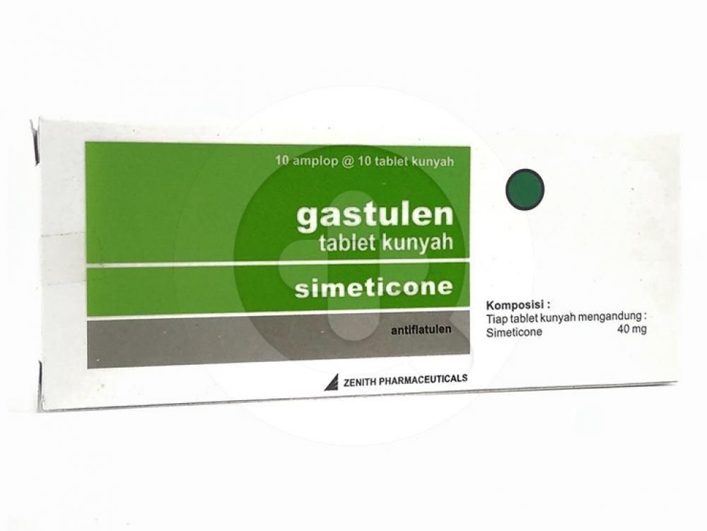 Gastulen tablet kunyah digunakan untuk meredakan perut kembung dan tidak nyaman karena gas berlebih.