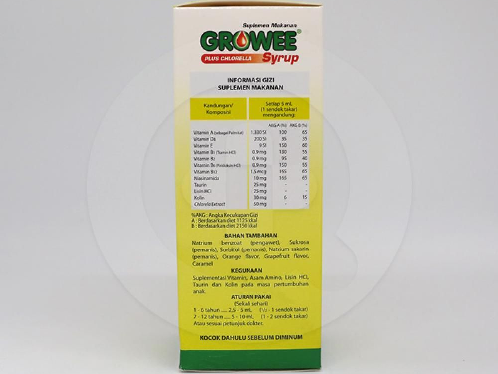 Growee adalah suplemen makanan berupa sirup dengan rasa jeruk yang mengandung vitamin, asam amino, dan kolin