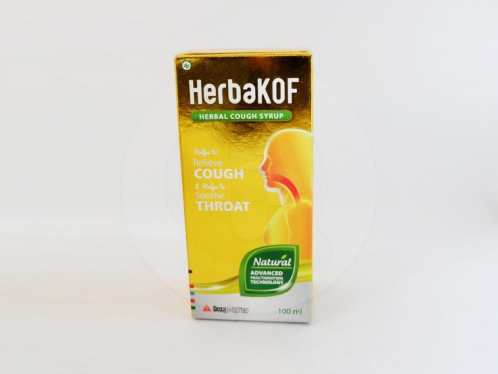 Herbakof sirup 100 ml untuk membantu meredakan batuk dan membantu melegakan tenggorokan.