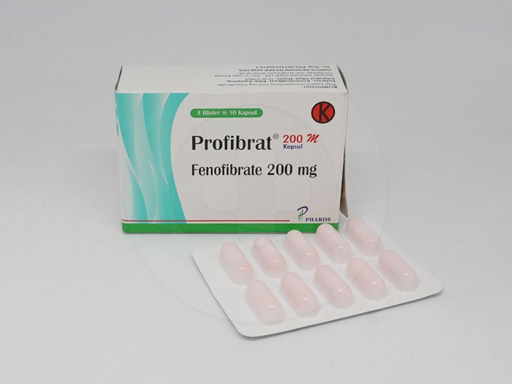 Profibrat kapsul 200 mg untuk pengobatan hiperkolesterolemia dan hipertrigliseridemia.