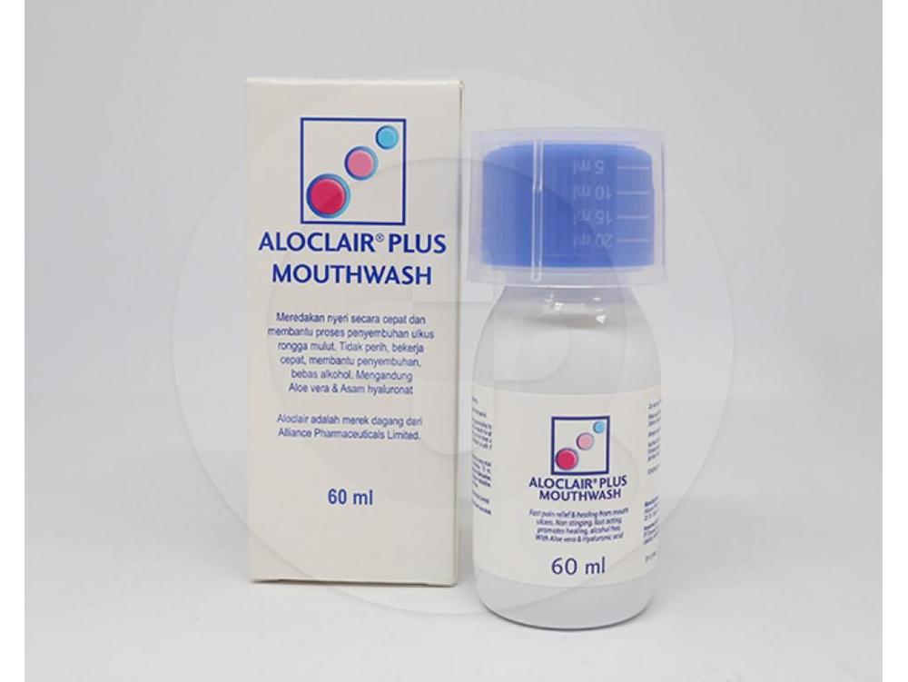 Aloclair Plus Mouthwash larutan 60 ml mengandung asam hyaluronat sebagai zat aktif