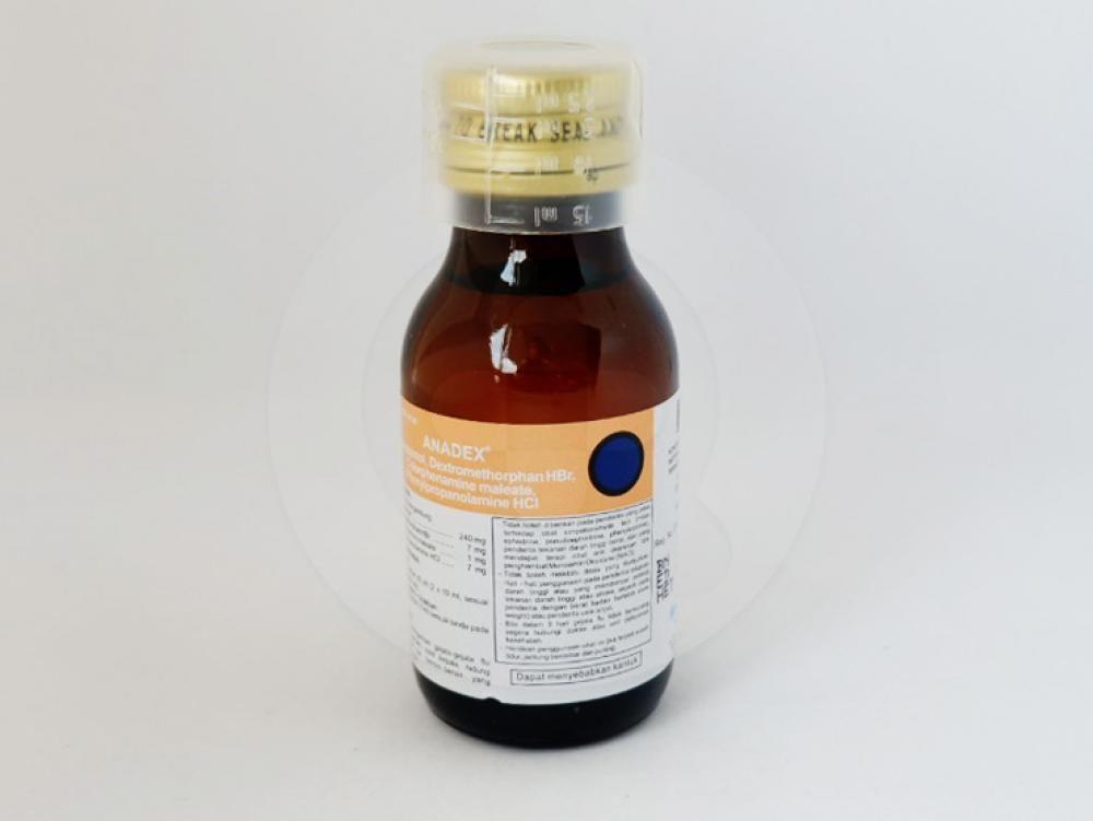 Anadex sirup 60 ml untuk meringankan gejala-gejala flu seperti demam, sakit kepala, hidung tersumbat dan bersin-bersin yang disertai batuk.
