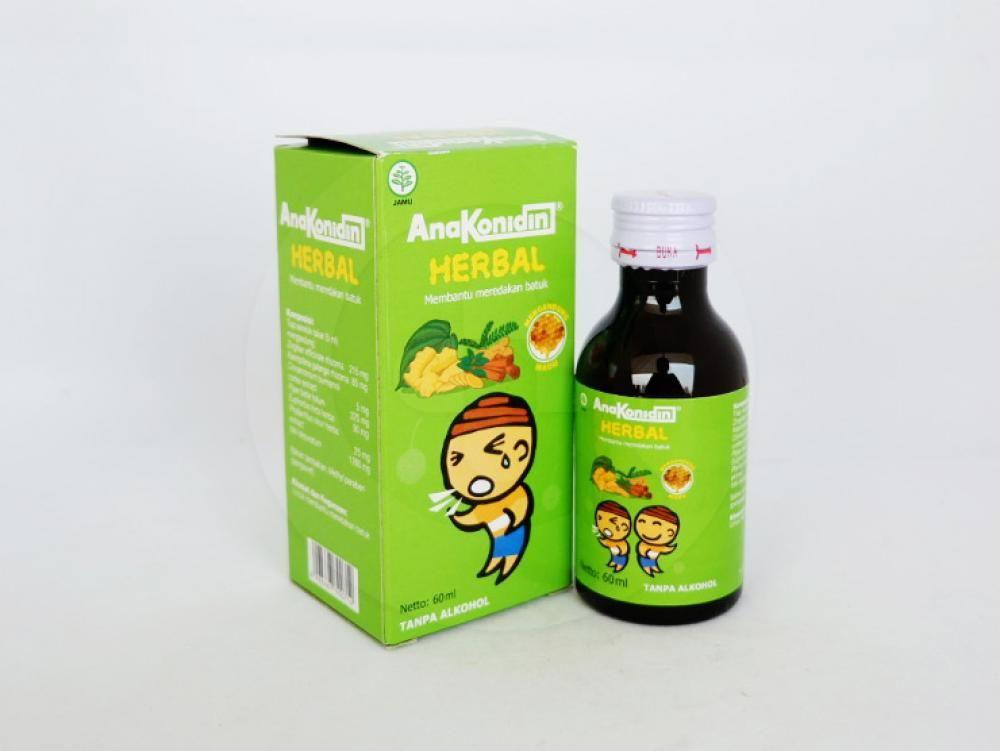 Anakonidin herbal sirup 60 ml untuk membantu meredakan batuk.