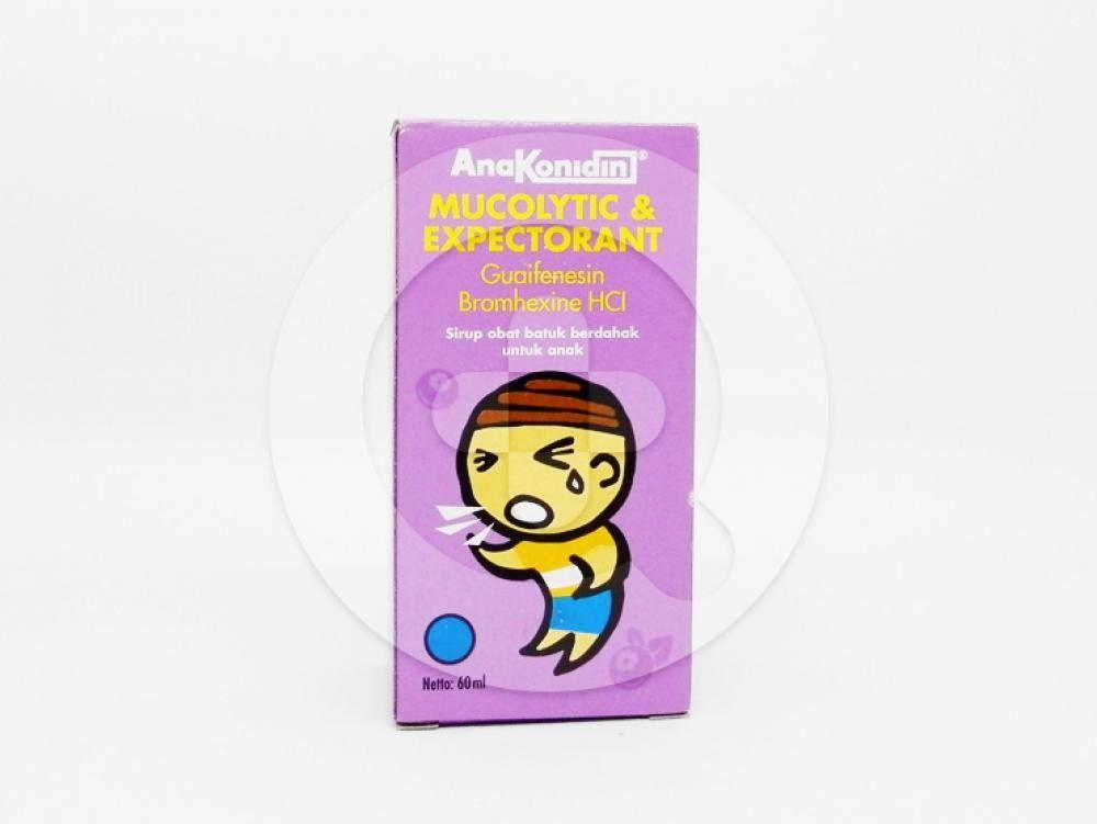 Anakonidin Mucolytic & Expectorant Sirup Rasa Blueberry 60 ml untuk meredakan batuk berdahak pada anak.