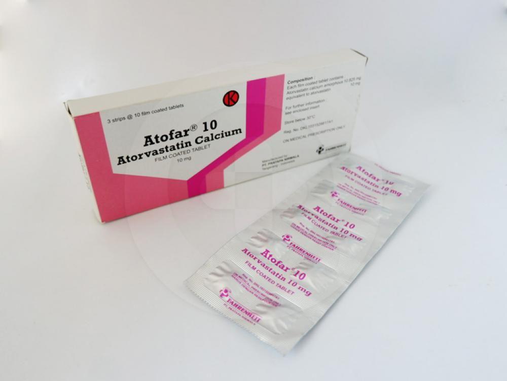Atofar tablet 10 mg obat yang berguna sebagai diet tambahan untuk pengurangan peningkatan kolesterol total, ldl-cholesterol, apolipoprotein b, dan trigliserida.
