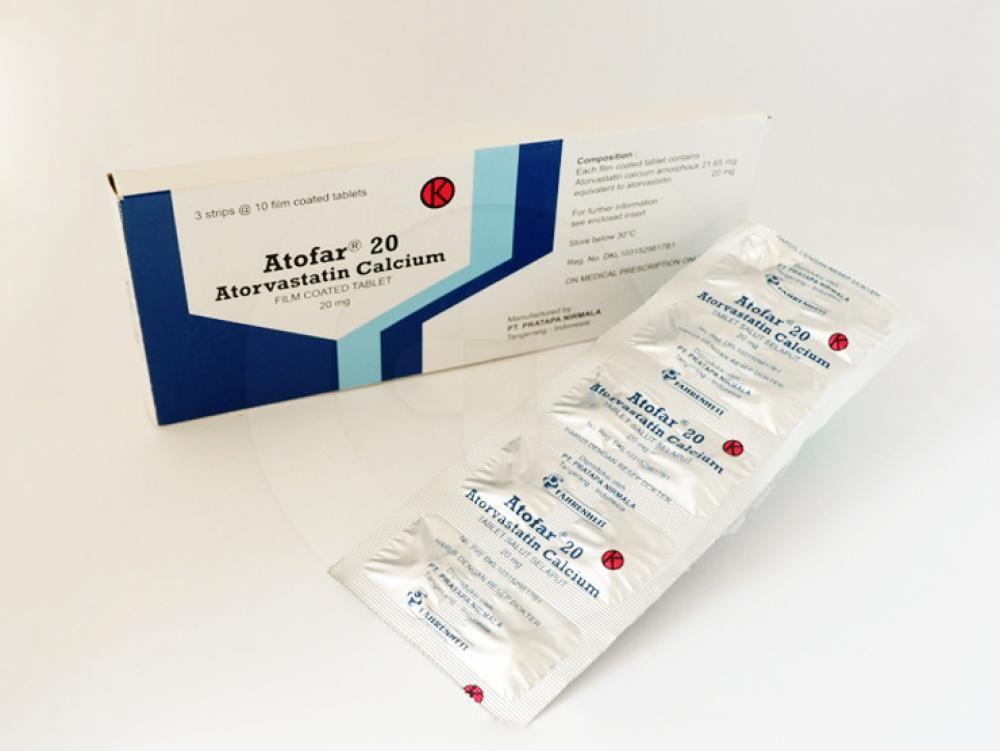 Atofar tablet 20 mg obat yang berguna sebagai diet tambahan untuk pengurangan peningkatan kolesterol total, ldl-cholesterol, apolipoprotein b, dan trigliserida.