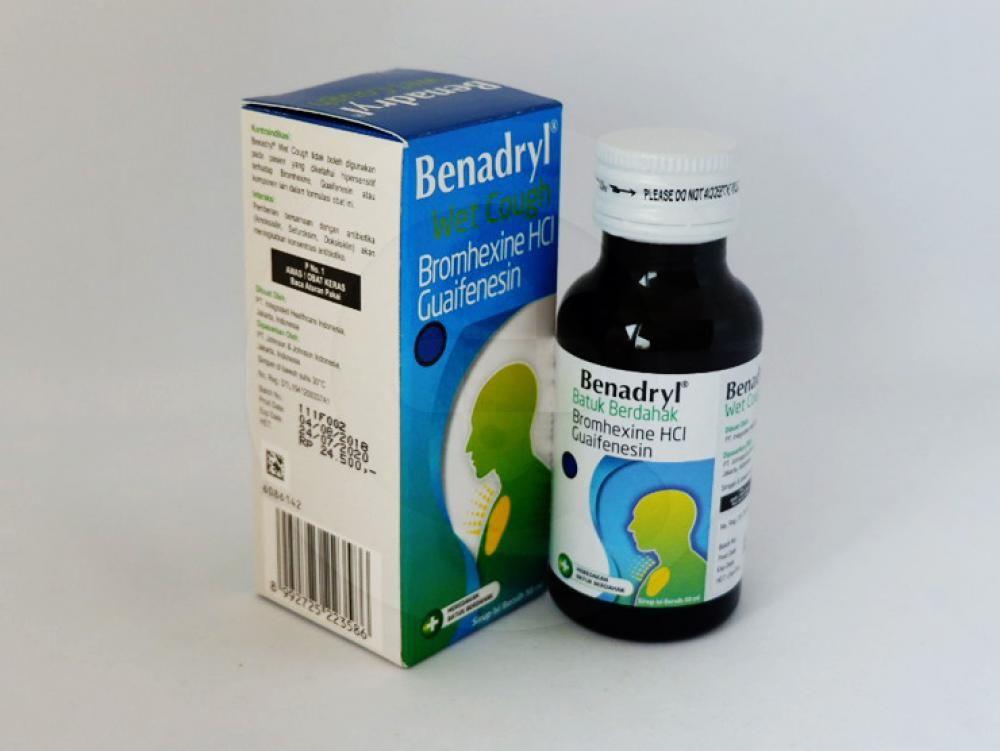 Benadryl sirup 50 ml untuk meredakan batuk berdahak dan mempermudah pengeluaran dahak.