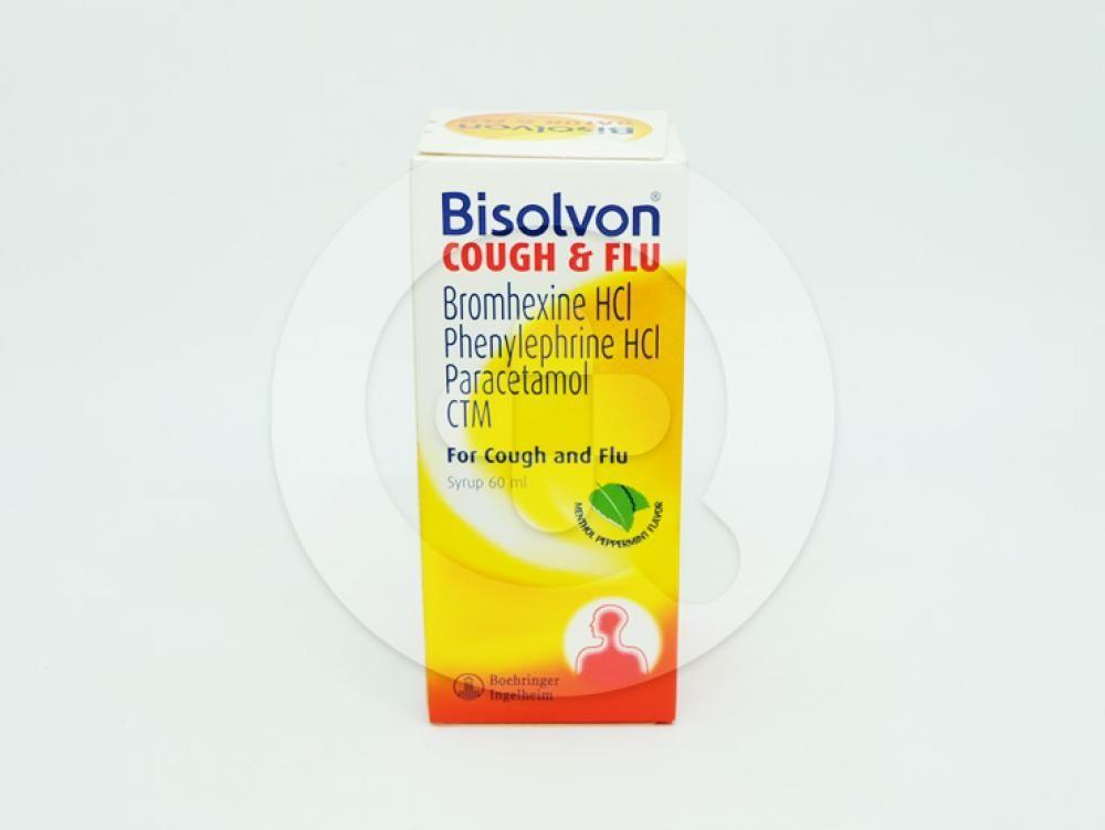 Bisolvon batuk & flu sirup 60 ml adalah obat yang digunakan ntuk meredakan gejala flu.