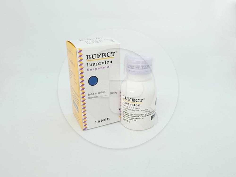 Bufect suspensi 60 ml untuk meringankan nyeri ringan sampai sedang dan menurunkan demam.