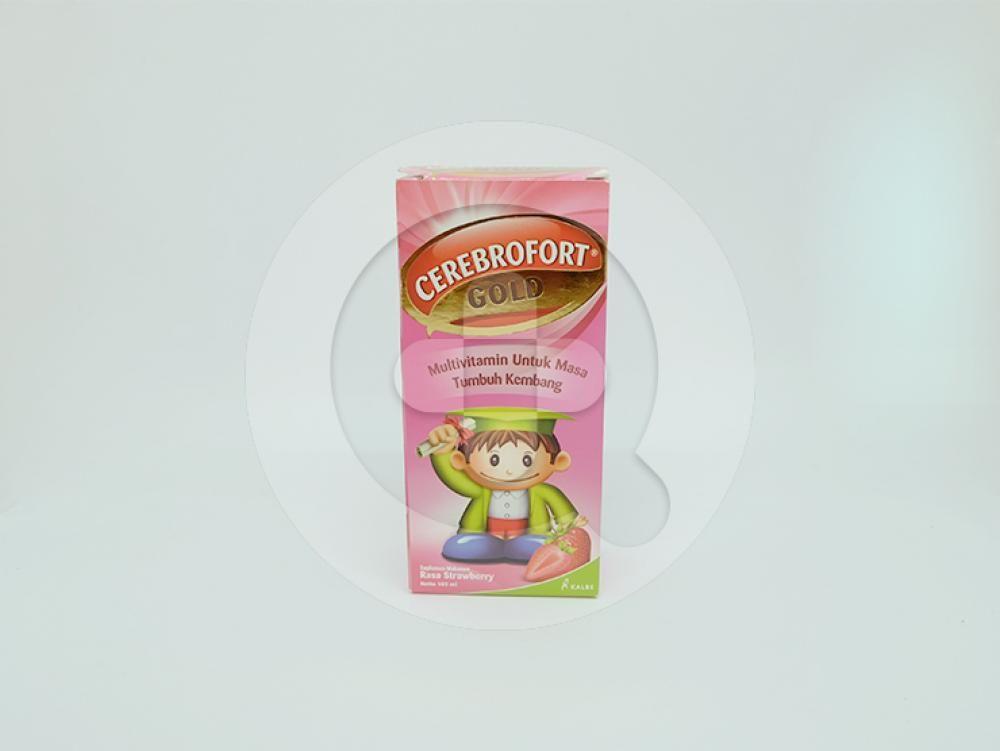 Cerebrofort gold rasa strawberry sirup 100 ml sebagai multivitamin untuk masa tumbuh kembang anak.
