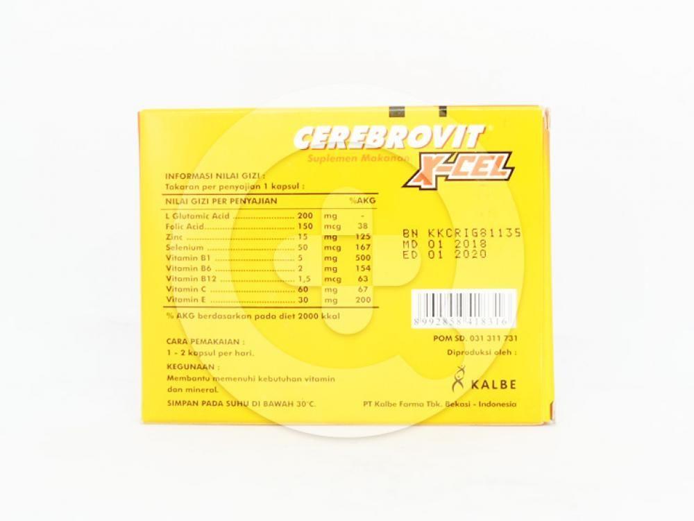 Cerebrovit x-cel kapsul membantu memenuhi kebutuhan vitamin dan mineral.
