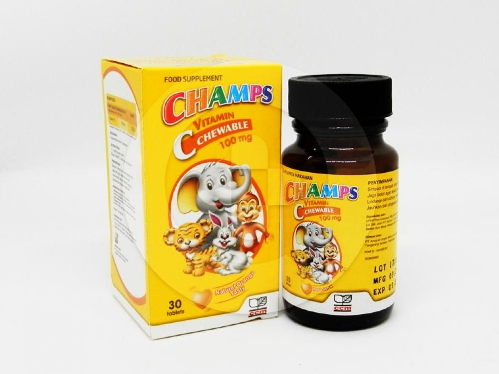 Champs Tablet Kunyah Rasa Jeruk 100 mg untuk membantu suplementasi vitamin C pada anak.
