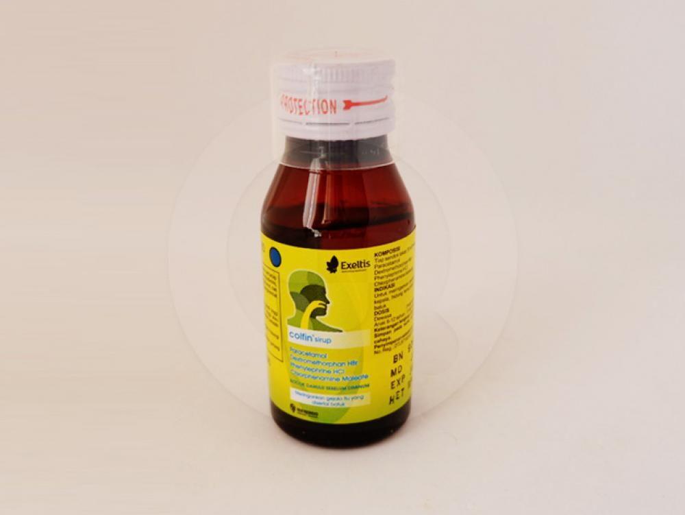 Colfin sirup 60 ml untuk meringankan gejala-gejala flu seoerti, demam, sakit kepala, hidung tersumbat, dan bersin-bersin yang disertai batuk.
