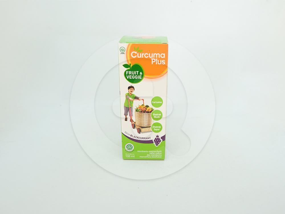 Curcuma plus fruit & veggie rasa blackcurrant sirup 100 ml untuk membantu memperbaiki nafsu makan dan membantu memelihara kesehatan.