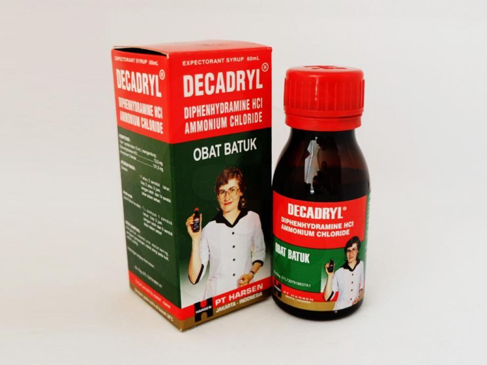 Decadryl sirup 60 ml adalah obat yang digunakan untuk meringankan batuk berdahak karena alergi.