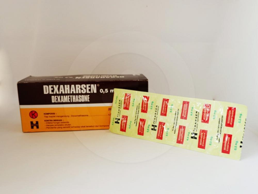 Dexaharsen kaplet 0,5 mg untuk mengobati arthritis, reaksi alergi, gangguan usus, kanker tertentu, masalah pernapasan, mengurangi gejala seperti pembengkakan dan reaksi alergi.