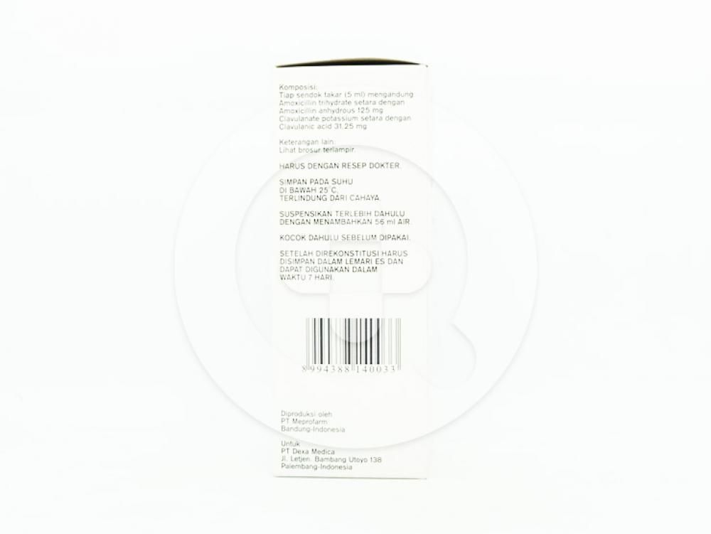 Dexyclav sirup kering 60 ml diindikasikan untuk infeksi yang disebabkan oleh bakteri.
