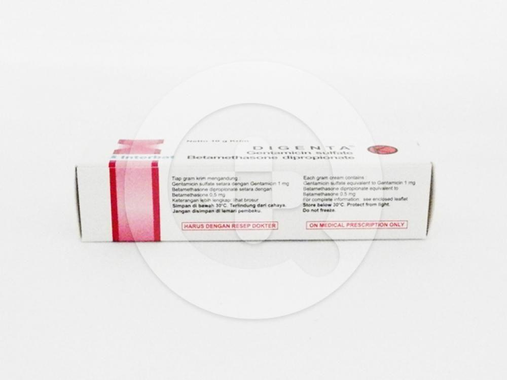 Digenta krim 10 g untuk mengibati berbagai macam dermatitis.