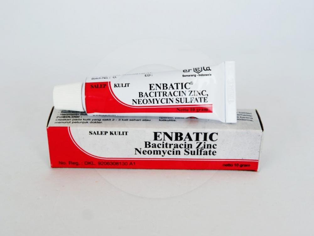 Enbatic salep 10 g adalah obat untuk mengobati dan mencegah infeksi kulit yang disebabkan oleh bakteri.