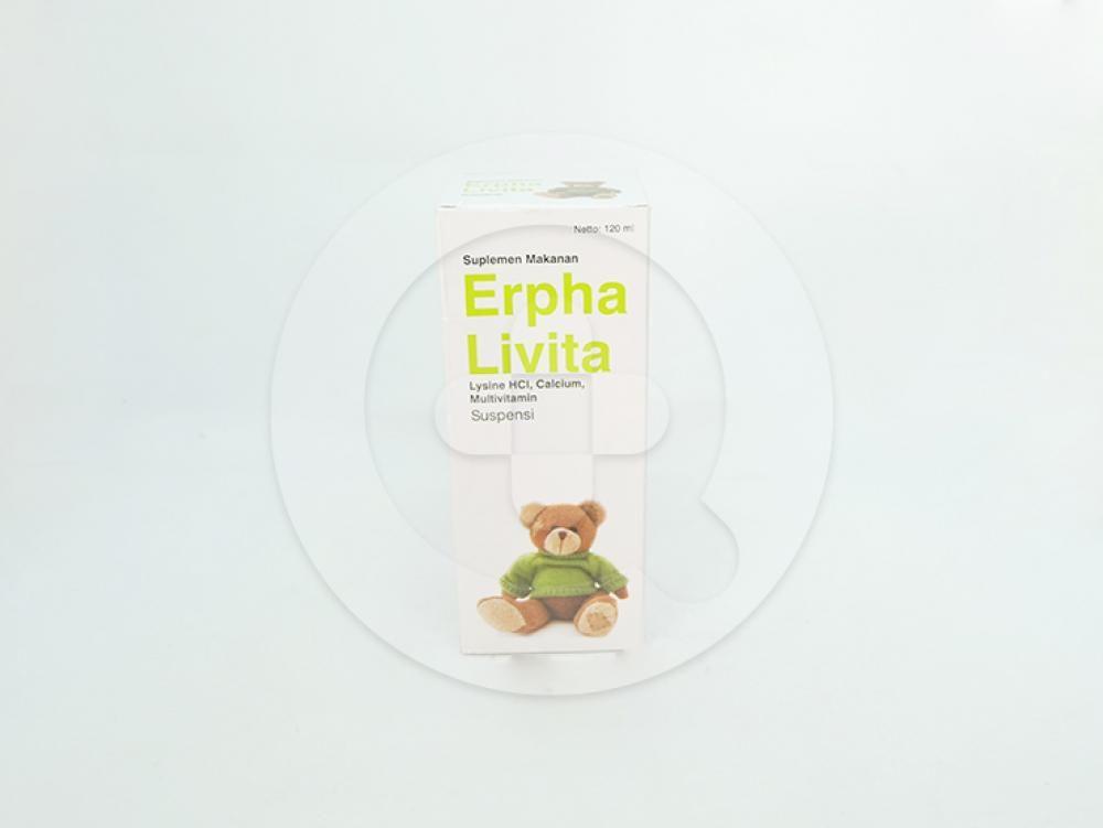 Erpha livita suspensi 120 ml untuk suplementasi vitamin pada anak-anak, wanita hamil dan menyusui.
