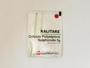Kalitake bubuk 5 g obat untuk mengobati kondisi ketika jumlah kalium dalam darah sangat tinggi (hiperkalemia) sebagai akibat gagal ginjal akut dan kronik.