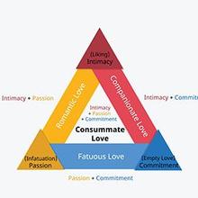 Triangular theory of love membahas tiga komponen utama dalam cinta, yaitu keintiman, gairah, dan komitmen