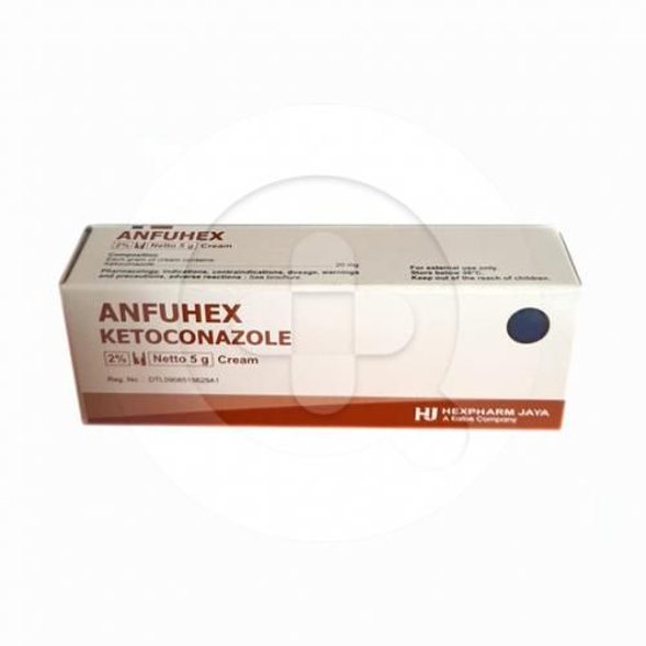 Anfuhex krim digunakan untuk mengobati infeksi jamur pada kulit.