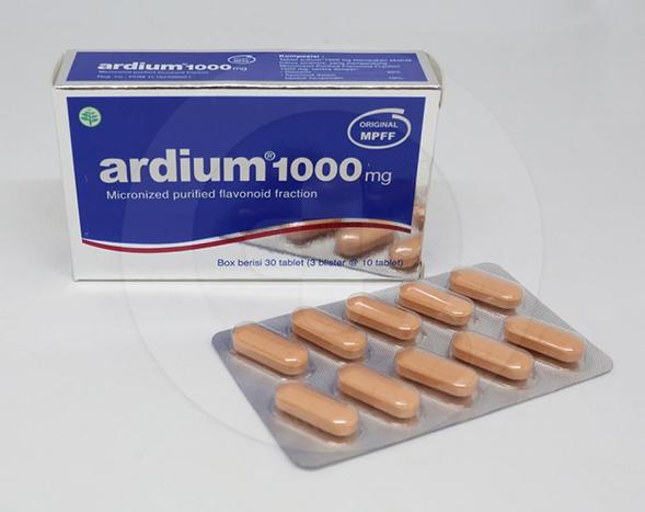 Ardium tablet adalah obat untuk meringankan wasir akut dan kronik, serta membantu meringankan gangguan peradangan darah di kaki atau varises