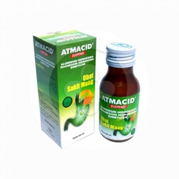 Atmacid suspensi digunakan untuk mengurangi gejala kelebihan asam lambung, peradangan lambung, tukak lambung dan usus 12 jari.