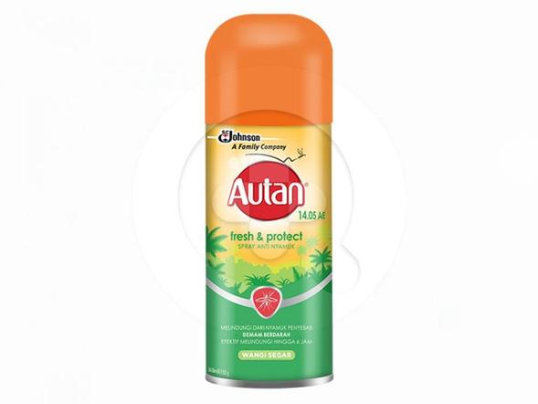 Autan Fresh & Protect spray aerosol anti nyamuk merupakan aerosol yang digunakan untuk melidungi kulit dari gigitan nyamuk.