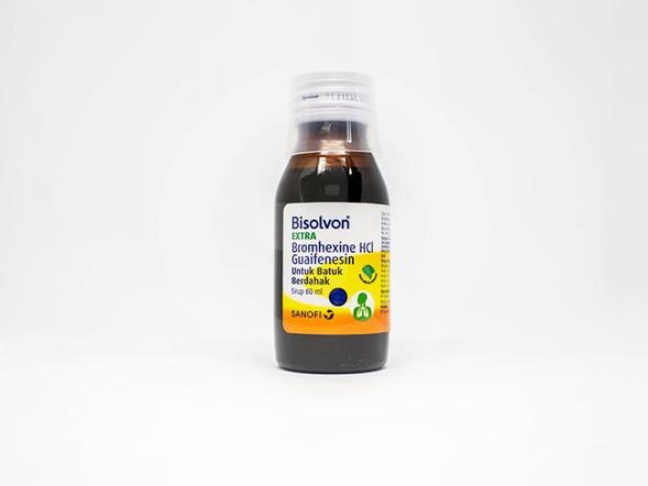 Bisolvon Extra sirup berfungsi untuk meredakan batuk dengan mempermudah pengeluaran dahak
