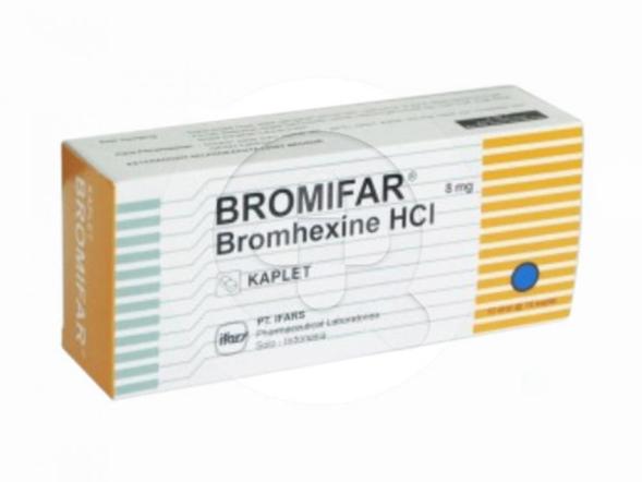 Bromifar kaplet digunakan untuk mengobati batuk dan mengeluarkan dahak.