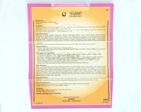 Cendo Floxa digunakan untuk mengobati infeksi pada mata yang disebabkan oleh bakteri yang sensitif