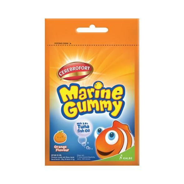 Cerebrofort Marine Gummy Jeruk merupakan gummy yang baik untuk perkembangan otak dalam mencapai masa tumbuh-kembang yang optimal.