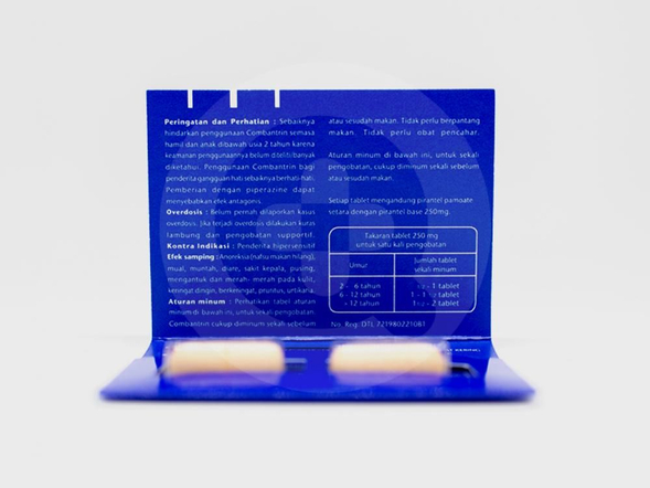Combantrin tablet adalah obat untuk infeksi cacing kremi, cacing gelang, cacing tambang, cacing trichostrongylus colubriformis, dan trichostrongylus orientalis